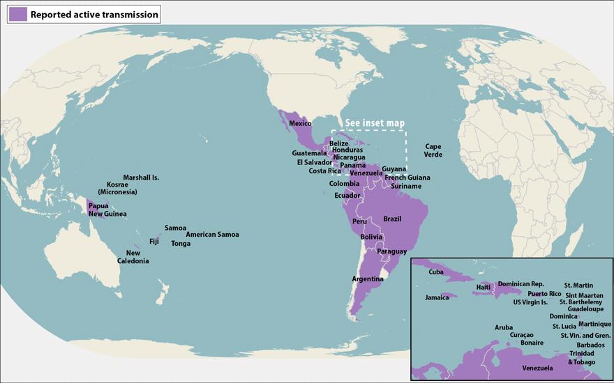 Area affected - zika virus