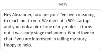 linkedin message connection Ricardo malignant melanoma