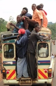 Busload of passengers in Tanzania